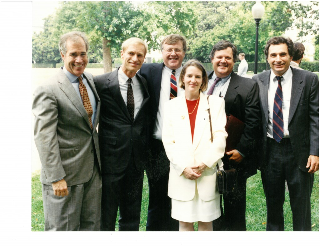 Some of us at the White House in Spring 1993, at the unveiling of the Clinton Administration proposal for a Community Development Financial Institutions Fund. From left to right in back: Bob Rapoza, Bob Justis (NCIC), Bill Bay (Impact 7) Lee Beaulac (PathStone), and Ron Phillips; front: Vicky Stein (Rapoza Associates).
